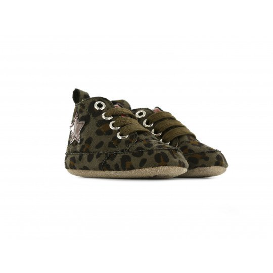 Shoesme Crib Shoe in green leopard with warm lining