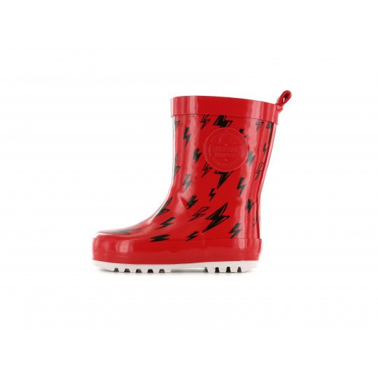 Shoesme red with lightning bolts Wellington Boots