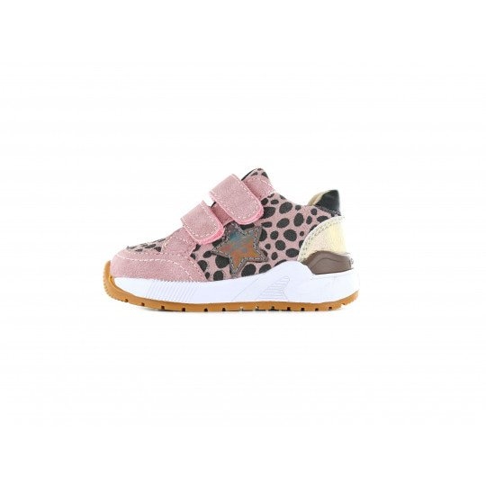 Shoesme pink shiny trainer with leopard print